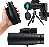 GCFG Telescopio monocular Impermeable de 12x50 para Adultos, bak4 Prisma y fmc HD monocular con Smartphone Titular y trípode para observación de Aves Camping Senderismo Turismo Turismo