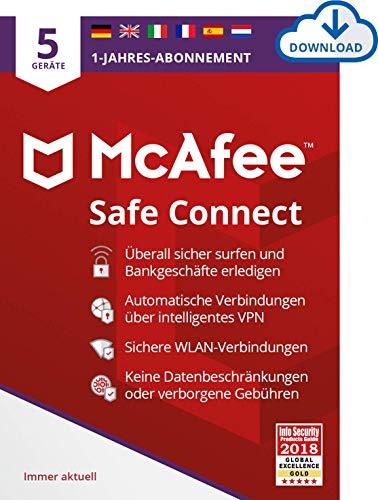McAfee | SafeConnect 2021 - VPN | 5 Gerät | 1 Benutzer | 12 Monate | PC/Mac | Aktivierungscode per Email