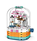 dOvOb Sakura Treehouse Rotatable Box Building Kit and Building Model Set, with Llights and 1 Figures, 260 Pieces Building Blocks, Toys Gifts for Children and Adult