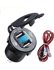 Aluminium QC3.0 Dual USB Charger Socket Stopcontact met Digitale Voltmeter QC 3.0 + 5v/1.5A Dual Usb poort met LED Voltage Meter Display voor 12 V/24 V Marine Auto Motorfiets (QC3.0 Aluminium Oplader)
