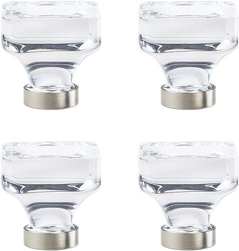 popular Amerock Glacio 1-3/8 in. high quality (35mm) Diameter Clear Crystal/Satin online Nickel Square Cabinet Knob (4, Clear Crystal/Satin Nickel) online sale