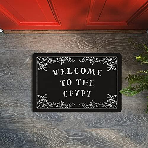 Goth Welcome Mat, Welcome to The Crypt Doormat, Funny HalloweenDoormat, Gothic Door Mat, Non Slip Doormats for Entrance Indoor, Outdoor, Home, Kitchen,Floor Rug Décor