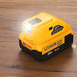 For Dewalt Battery Adapter with Dual USB & DC Port & LED Work Light - Power Source Charger for Dewalt 20V MAX Lithium Battery