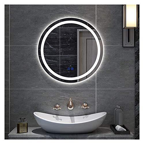 Espejo de baño redondo con luz LED | Espejo de tocador montado en la pared (color: tres colores, tamaño: 60 cm)