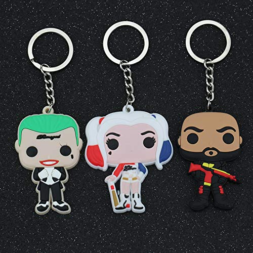 YclRpro 3Pcs Suicide Squad Keychain Jared Leto The Joker Margot Robbie Harley Quinn Will Smith Deadshot Floyd Lawton Keyring Key Chain Ring