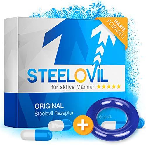 *NEU* STEELOVIL + RING - Das Natürliche Potenzmittel mit der Einzigartigen Stiff-Power Formel I NEUTRALE LIEFERVERPACKUNG I 4 Hochdosierte Inhaltsstoffe (Blauer Ring)