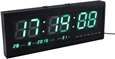 EBTOOLS Reloj de Pared LED Digital Grande Dígitos Reloj de Alarma Calendario Temperatura Humedad