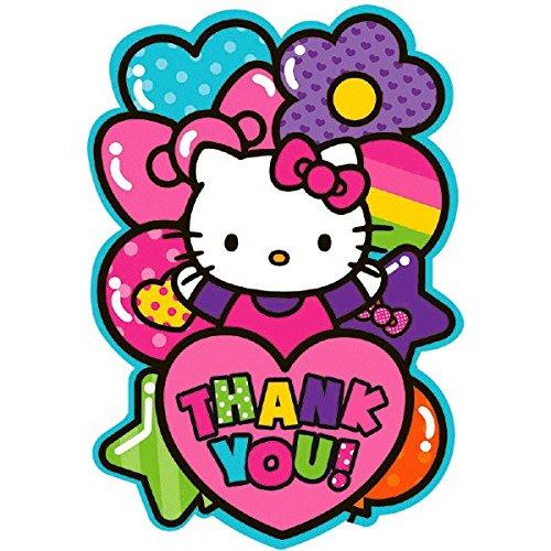 amscan Liebenswürdig, Hello Kitty Rainbow® Postkarte Geburtstag Party Thank You Karten (8Pack), Rosa, 41/10,2cm X 61/10,2cm
