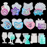 iSuperb 11Pcs Resin Shaker Mold DIY Quicksand Star Moon Cat Casting Epoxy Silicone Mold Heart Shaped Kawaii Resin Epoxy Jewelry Molds for Pendant Decoration Crafts