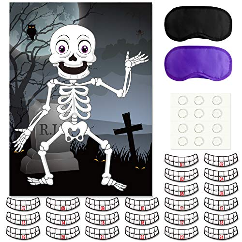 FEPITO Pin the Teeth on the Skeleton Skull Halloween Party Game with 24 Pcs Teeth Stickers for Halloween Party Favors, Halloween Decorations