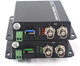 Guantai 3G/HD SDI Video Audio Ethernet Over Fiber Optic Media Converters Transmitter Receiver for HD Video Broadcast (3G-SDI with RS485 Data)
