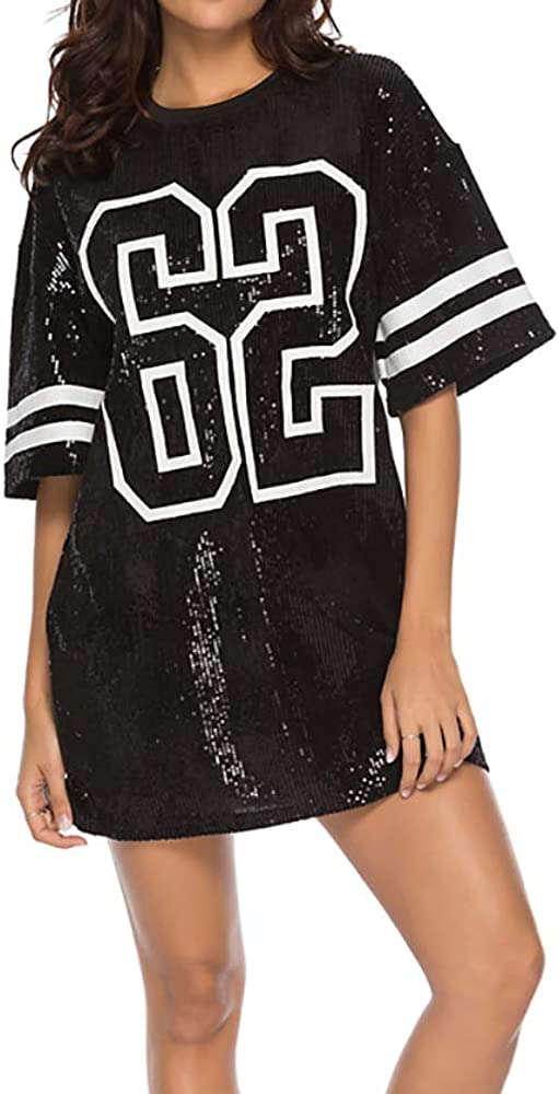 Whitewed Short Glam Sequin 62 Graphic Tunic Length Football Jersey T-Shirt Body Dress