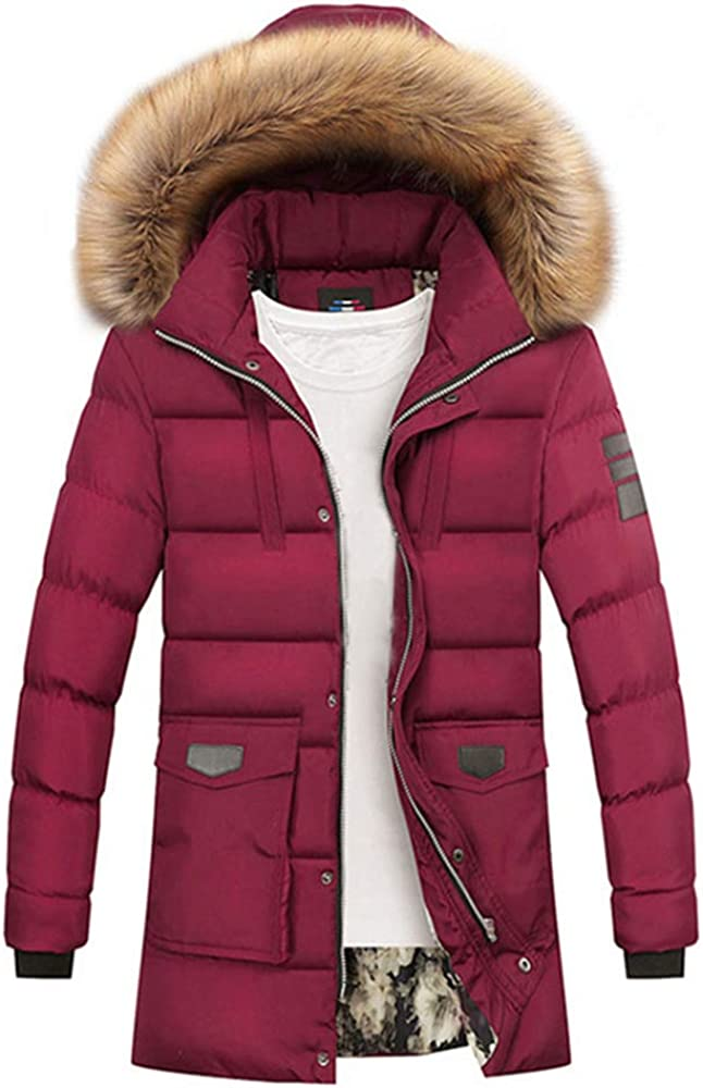 MMCICI Mens Winter Thicken Hooded Coats Faux Fur Collar Warm Fashion Jackets Parkas