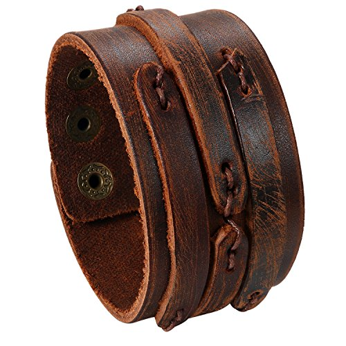 JewelryWe Schmuck Herren Lederarmband, Retro handgefertigt breit Leder Echtleder Armband Armreif Manschette Armband verstellbaren 6.5-8.5 Zoll, braun