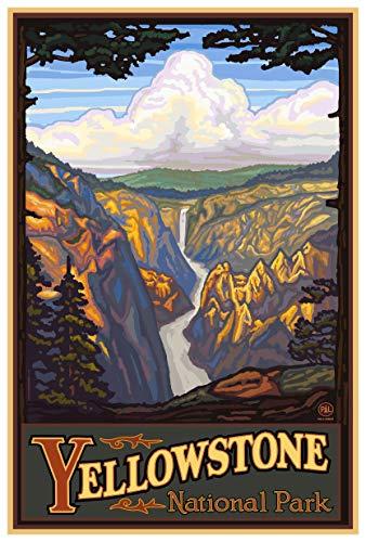 Yellowstone National Park Yellowstone Falls Giclee Art Print Poster from Original Travel Artwork by Artist Paul A. Lanquist 12