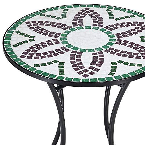 Deuba Mesa de Mosaico Flora (ØxAl) 60x70cm Mesita de Azulejos y Metal para jardín balcón terraza