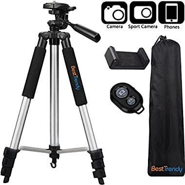BestTrendy 42-inch Portable Aluminum Camera Tripod, Lightweight Travel Cellphone Mount Stand with Bag, Bluetooth Remote Control for DSLR Cameras, iPhone, Samsung, Gopro (Silver)