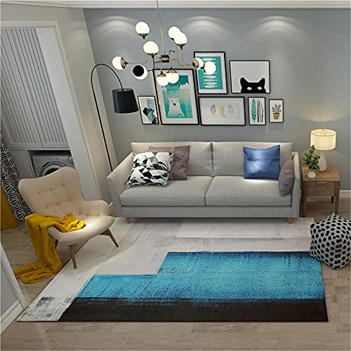 Alfombra Perros Alfombra de Sala de Estar Azul Simple Rectangular Retro apresurando Alfombra Anti-mitón Azul alfombras Lavables Infantiles 40X60CM alfombras Lavables Salon 1ft 3.7''X1ft 11.6''