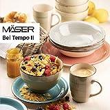 MÄSER 931602 Bel Tempo II Teller-Set für 6 Personen im modernen Vintage Look, 12-teiliges Tafelservice, handbemalt, Dunkelblau, Steingut, Blau - 2