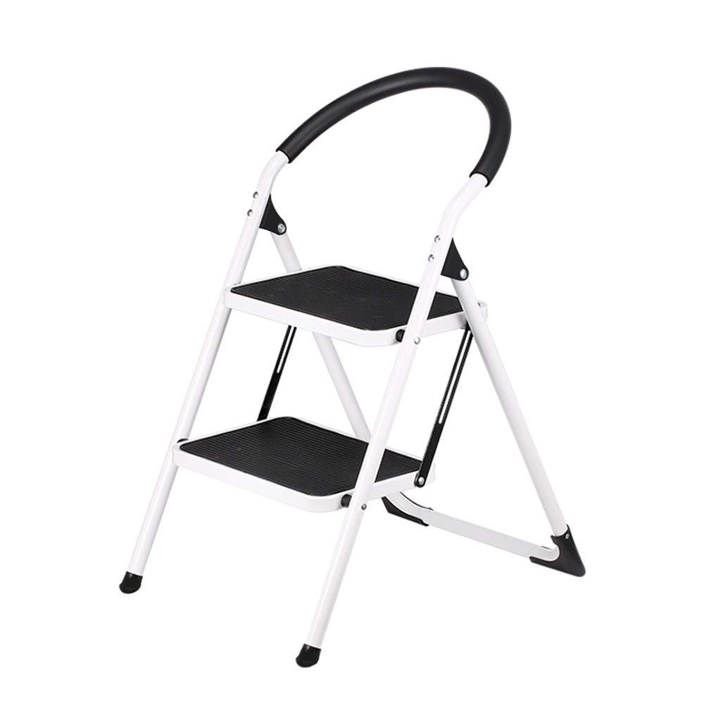 QFFL Escalera de Dos Escalones, Taburete de Acero de Alta Resistencia, Plegable Portátil con Antideslizante, Color Negro Escaleras de mano: Amazon.es: Bricolaje y herramientas