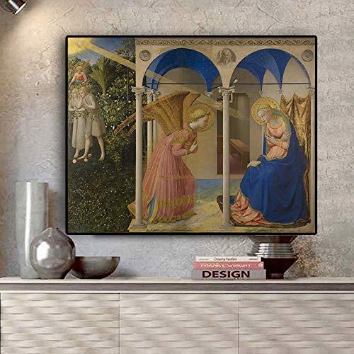 Olieverf canvas achtergrond muur opknoping Annunciati voor Fra Angelico portret cinavian Geschikt voor woonkamer in galerij kamer met loopbrug trappen