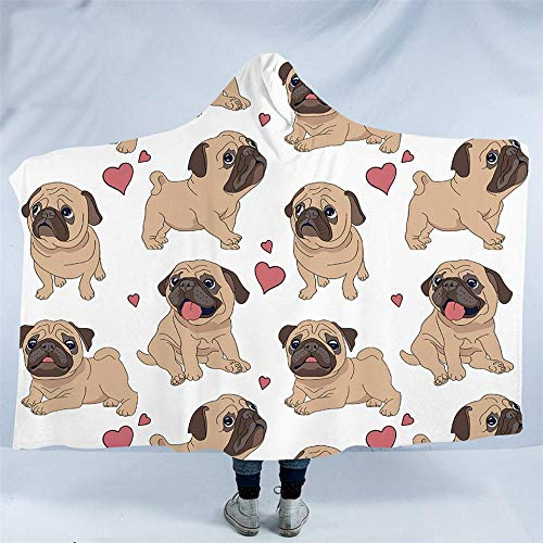 Haustier Hund Sammlung Kapuze Decke Hippie Mops Sherpa Fleece tragbare Decke Husky Dackel Decke 150 x 200