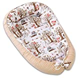 PIMKO Babynest Babynestchen für Baby Kuschelnest 2-seitig Babykokon für Säuglinge und Neugeborene Babynestchen 100% Baumwolle Babykissen geeignet für Zuhause oder als Reisebett 55 x 90 cm (Mocca)