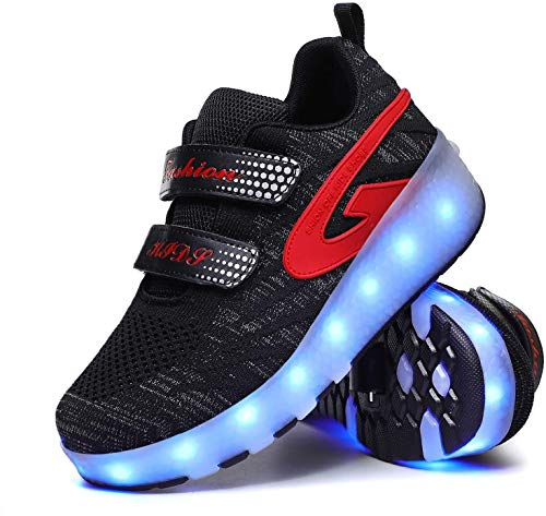 LIjiMY Unisex Roller Skate Stay Sport USB Carga LED Zapatos 7 Colores Doble Ruedas para Niños Día De Acción De Gracias Navidad Best Gifts Niños, Rosa, EU40 (Color : Black, Size : EU30)