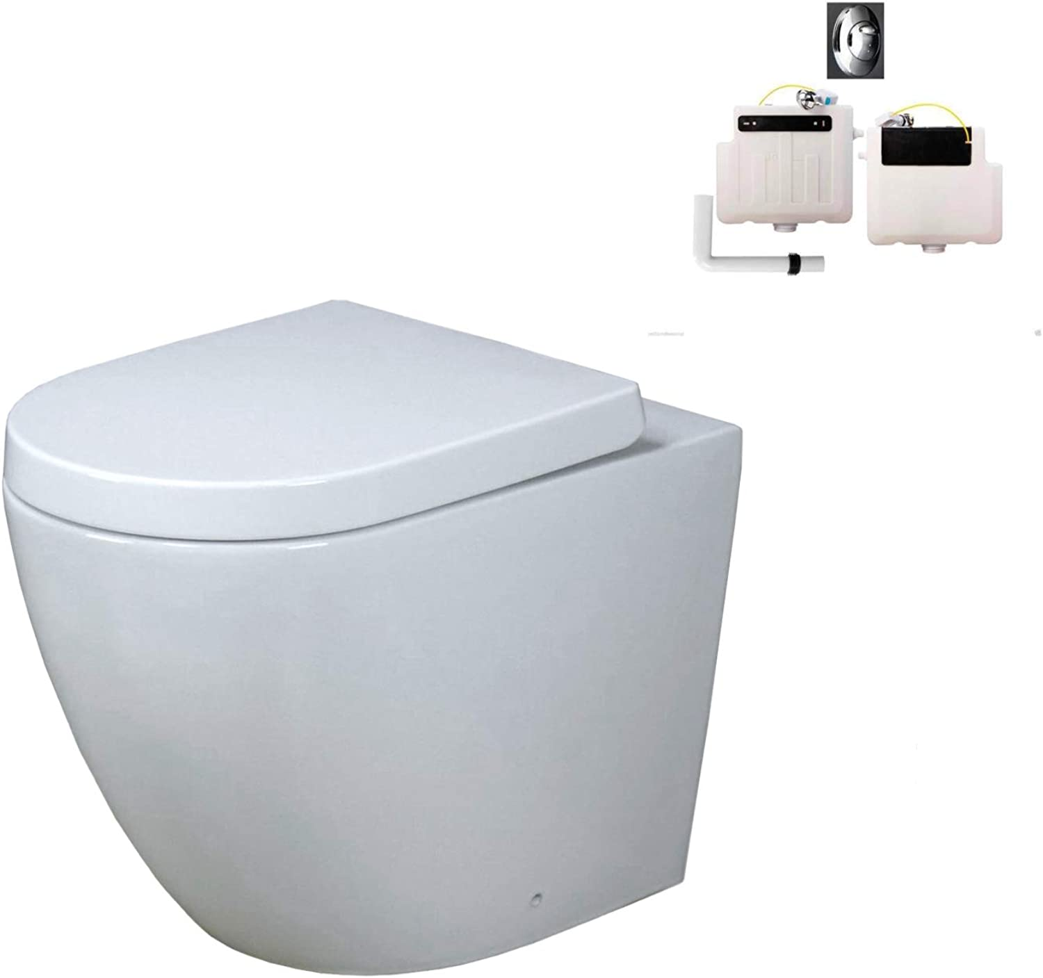 KLARA Toilet WC WC WC Back To Wall Concealed Cistern Cloakroom White Soft Close Seat 405c89