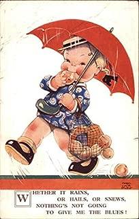Child With Umbrella In Rain Mabel Lucie Attwell Original Vintage Postcard