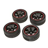 Generic RC Model on-Road Car Rubber Racing Tires Tyre and Wheel Rim, 1:10