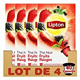 Lipton Thé Noir Fruits Rouges, Capsules Compatibles Nespresso, Label Rainforest Alliance 40 Capsules (Lot de 4x10 Capsules)
