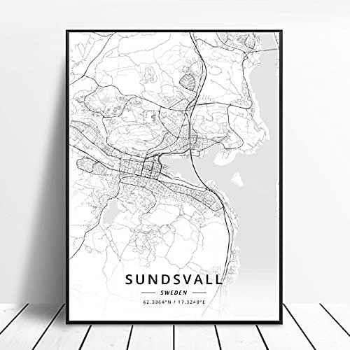 Landskrona Gothenburg Karlstad sodertalje kalmar Sundsvall Sweden Canvas Art Map Poster ?ZW-8? Ingen ram poster 40x60cm