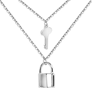 Lock Key Pendant Necklace Set Titanium Stainless Steel Gold Chain Choker Necklace for Women Girls Men with Multilayer Double Layered Necklace Adjustable Long Clavicle Chain Jewelry