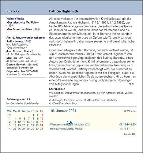Literatur Kulturkalender 2021 – Tagesabreißkalender - 10