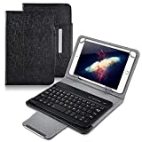 Universal 7 inch Tablet Keyboard Case, 【DETUOSI】 Wireless Bluetooth Removable Keyboard + Folio PU Leather Cover +...