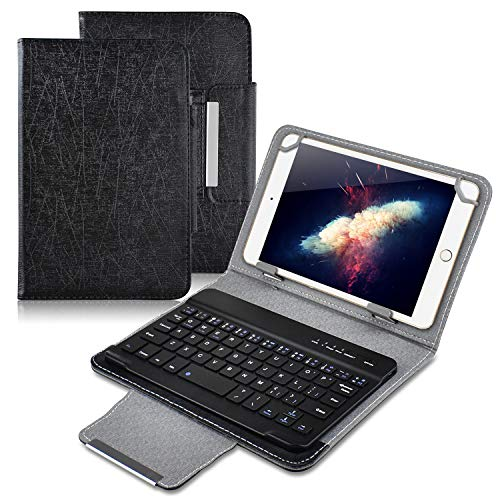 Universal 7 inch Tablet Keyboard Case, 【DETUOSI】 Wireless Bluetooth Removable Keyboard + Folio PU Leather Cover + Stand, Travel Portable Leather Sleeve for iOS/Android/Windows 7.0'' Tablet,(Black)