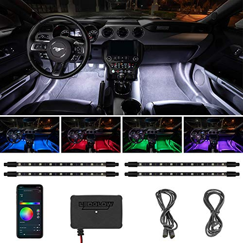 LEDGlow 4pc Bluetooth Multi-Color LED Interior Footwell Underdash Neon Lighting Kit for Cars & Trucks - Smartphone App - Create Any Color - Courtesy Lights - Music Mode - Control Box - Universal