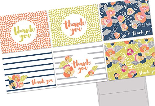 Note Card Cafe Thank You Cards with Kraft Envelopes | 36 Pack | Vibrant Blooms Thank You | Blank Inside, Glossy Finish | for Greeting Cards, Occasions, Birthdays, Gifts