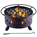 Legacy Heating 30'' 50 Pounds Fire Pits Outdoor Wood Burning Durable Steel BBQ Grill Fireplace Bowl with Mesh Spark Screen Cover Log Grate Wood Fire Poker for Camping Picnic Bonfire Patio Backyard