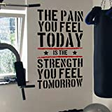 Pain Today Strength Tomorrow Gym Motivational Wall Decal Quote 5 Colour Options (black/red) by...