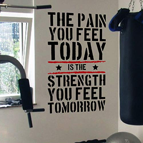 DesignDivil, adesivo murale con frase motivazionale su salute/allenamento in inglese 'The Pain You Feel Today is the Strength You Feel Tomorrow', per TRX, spinning, kettlebell, allenamento, boxe e arti marziali