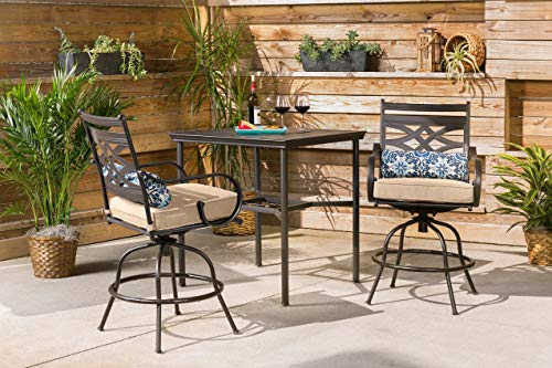 Hanover MCLRDN3PCBRSW2-TAN Montclair 3-Piece High-Dining Table Set, Tan Outdoor Furniture