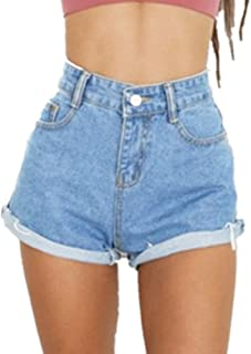 Women's Juniors Vintage Denim High Waisted Folded Hem...