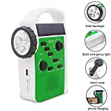 GIKIO Generador De Manivela Solar para Exteriores, Radio De Emergencia 7 En 1, Tarjeta Am/FM/Bluetooth/TF/Luz De Lectura/Luz Led/Energía Móvil De 2000 Mah