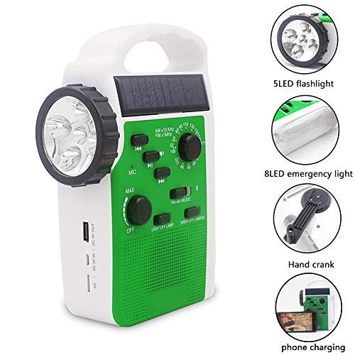 Sweet48 Crank Solar Radio Mutilfunction Emergencia Radio-FM AM Receptor Crank Dynamo Radio/teléfono móvil Cargador/linterna/altavoz Bluetooth/lámpara de lectura, Verde, Tamaño libre