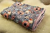 kuschelige Babydecke Kuscheldecke Wagendecke Baby-Decke Bauernhof Vögel Blumen Rotkehlchen rosa-grau handmade
