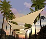 Amgo 12' x 12' x 12' Beige Triangle Sun Shade Sail Canopy Awning ATAPT12, 95% UV Blockage, Water & Air Permeable, Commercial and Residential (Custom