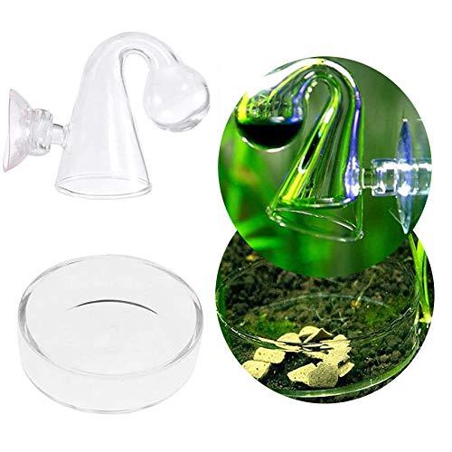 Juxing CO2 Drop Checker Glass Monitor Aquarium pour Réservoir de Poissons Planté, Aquarium d'eau Douce, Aquarium Aquatique Verre CO2 Indicateur Moniteur testeur avec bac d'alimentation