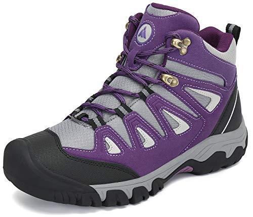Mishansha Zapatillas de Senderismo Ligero Antideslizantes Mujer Al Aire Libre Escalada Zapatos de Trekking Cómoda Cálido Forro Botas Morado Gr.41